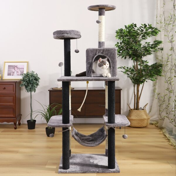 Pet Cat Tree Tower House Scratcher Post - Kitten Jumping Toy with Ladder